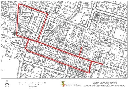 Plànol dels carrers on Gas Natural va fer mesuraments.